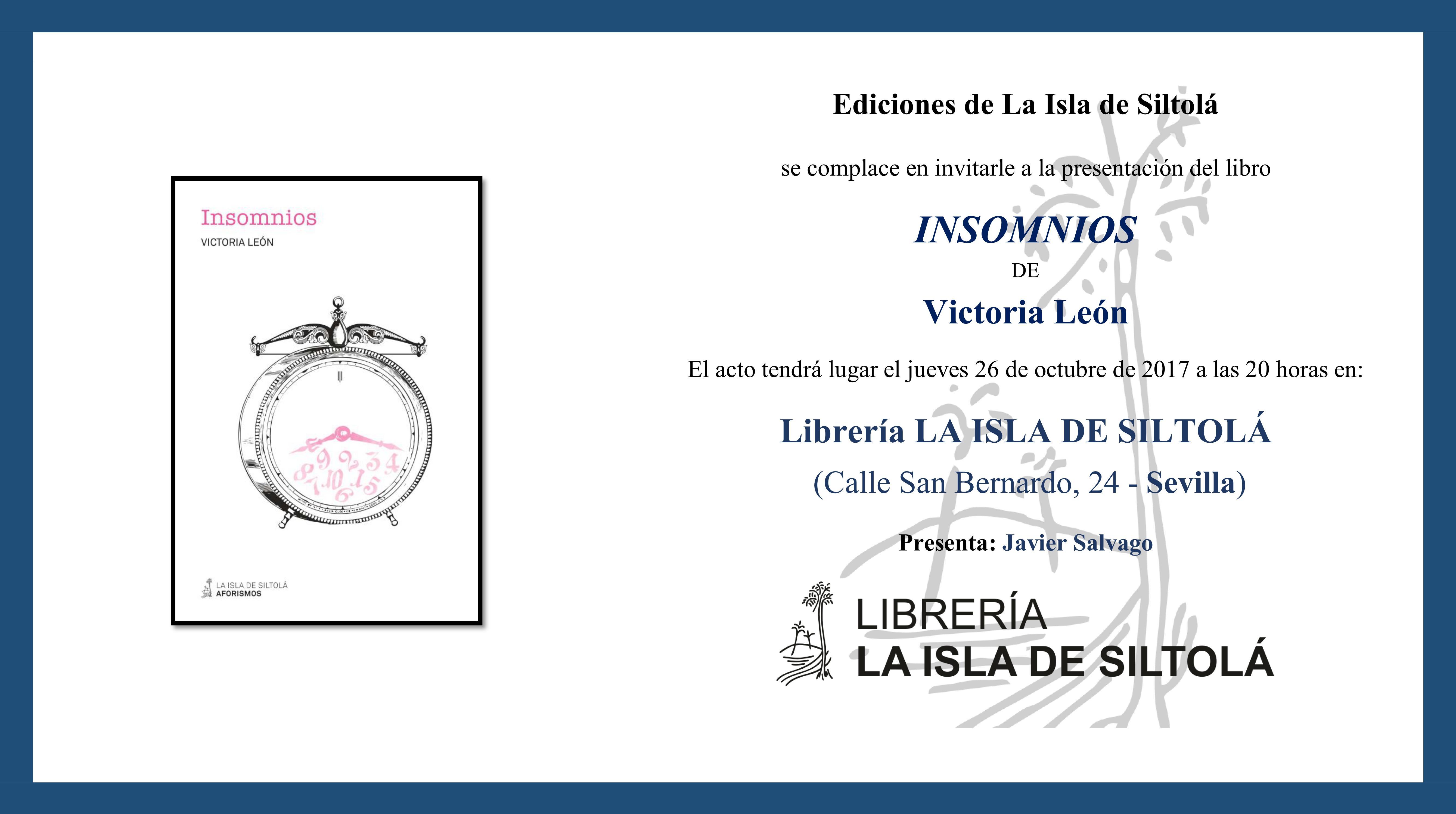 """Presentación de """"Insomnios"""", de Victoria León"""