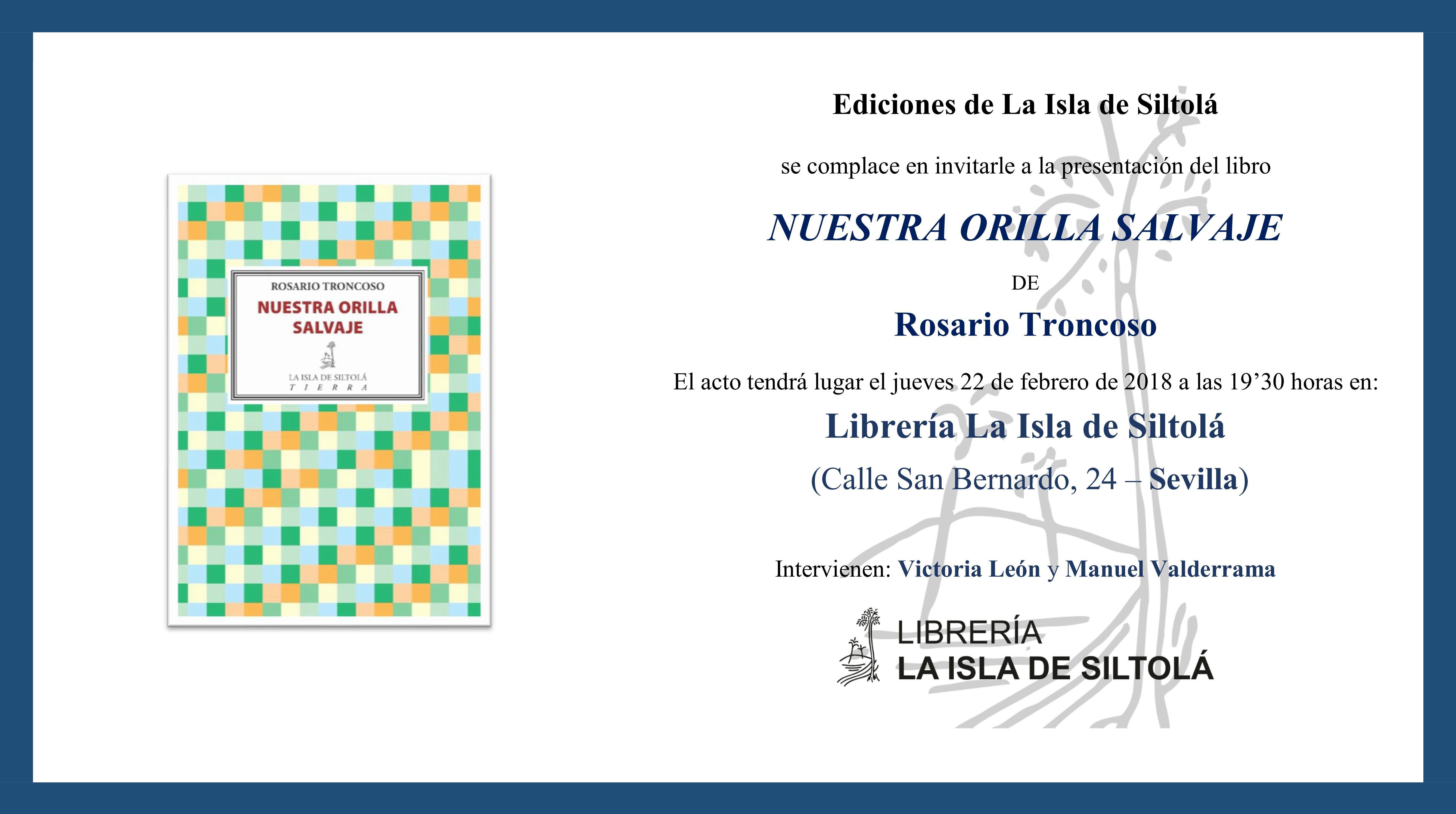 """Presentación de """"Nuestra orilla salvaje"""", de Rosario Troncoso"""