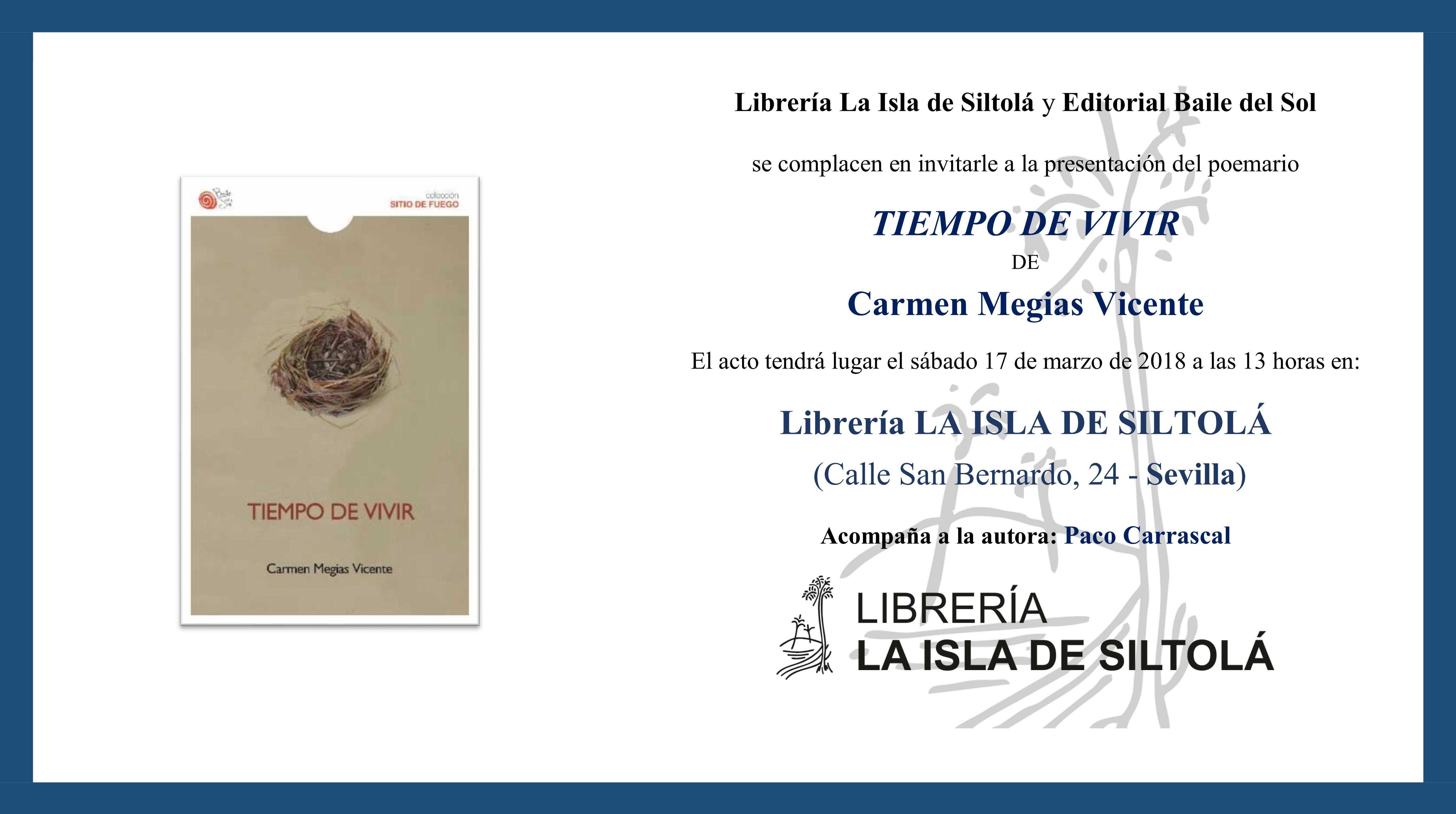 """Presentación de """"Tiempo de vivir"""", de Carmen Megías Vicente"""